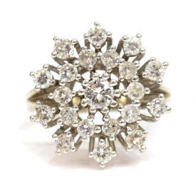 LADIES VINTAGE DIAMOND CLUSTER RING,  0.99CTTW