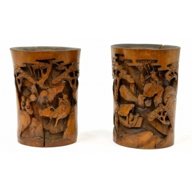 (2) CHINESE CARVED FIGURAL BAMBOO BRUSH POTS