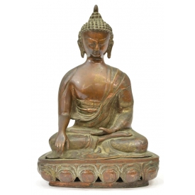 CHINESE PATINATED COPPER & BRASS SEATED BUDDHA