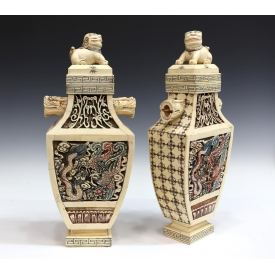 (PAIR) CHINESE CARVED BONE LIDDLED SQUARE VASES