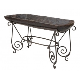 NEPALESE CARVED WOODEN TROUGH ON IRON STAND