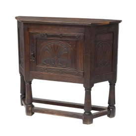 FRENCH CARVED OAK SHAPED SIDEBOARD, 19TH C.