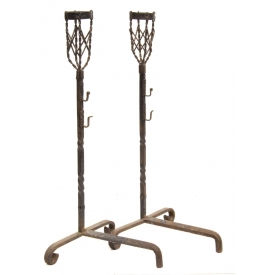 (PAIR) LARGE CONTINENTAL WROUGHT IRON ANDIRONS