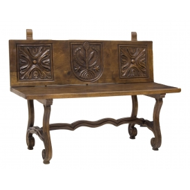 DIMINUTIVE WALNUT CARVED BACK BENCH