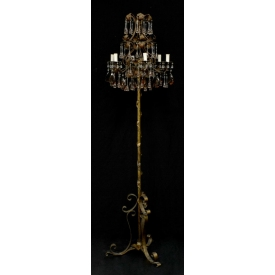 ITALIAN PATINATED IRON & CRYSTAL PRISM FLOOR LAMP