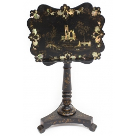 VICTORIAN PAPIER MACHE MOTHER OF PEARL STAND/TABLE