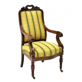 VICTORIAN CARVED MAHOGANY PARLOR ARMCHAIR