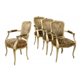 (4) FRENCH LOUIS XV STYLE ARM CHAIRS