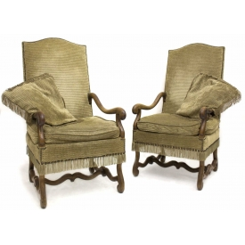 (2) LOUIS XIV STYLE UPHOLSTERED OAK ARM CHAIRS