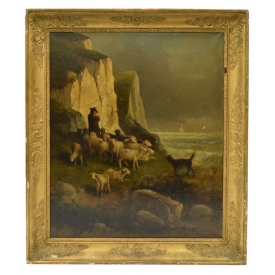 FRENCH OIL ON CANVAS, SHEPARD WITH FLOCK NEAR SEA