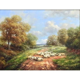 FRAMED OIL PAINTING OF SHEEP IN PASTURE