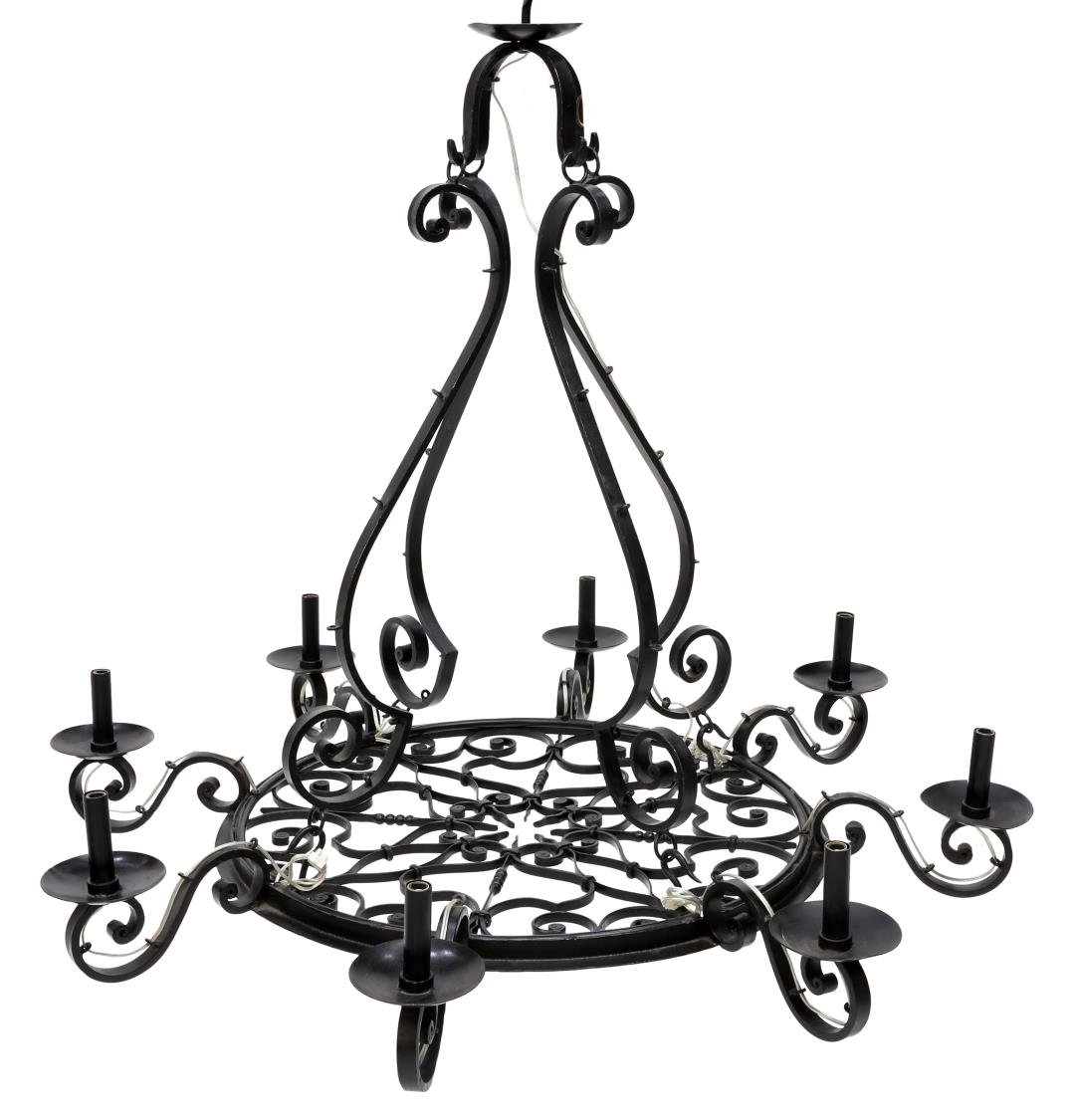 FRENCH COUNTRY WROUGHT IRON CHANDELIER