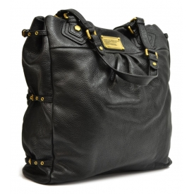 MARC BY MARC JACOBS BLACK GRAINED LEATHER TOTE BAG