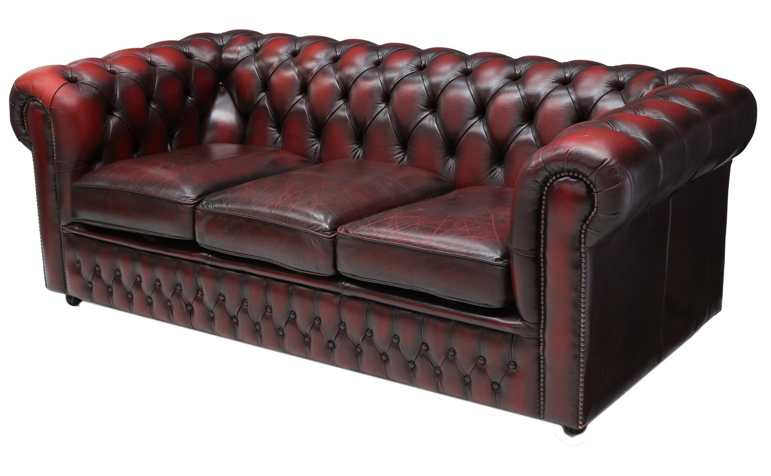 English Chesterfield Oxblood Leather 3 Seat Sofa Summer