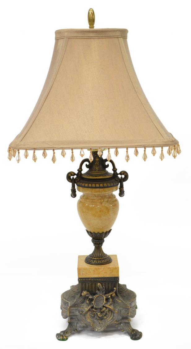 Louis xv style brass marble table lamp w shade summer for Lamp shades austin