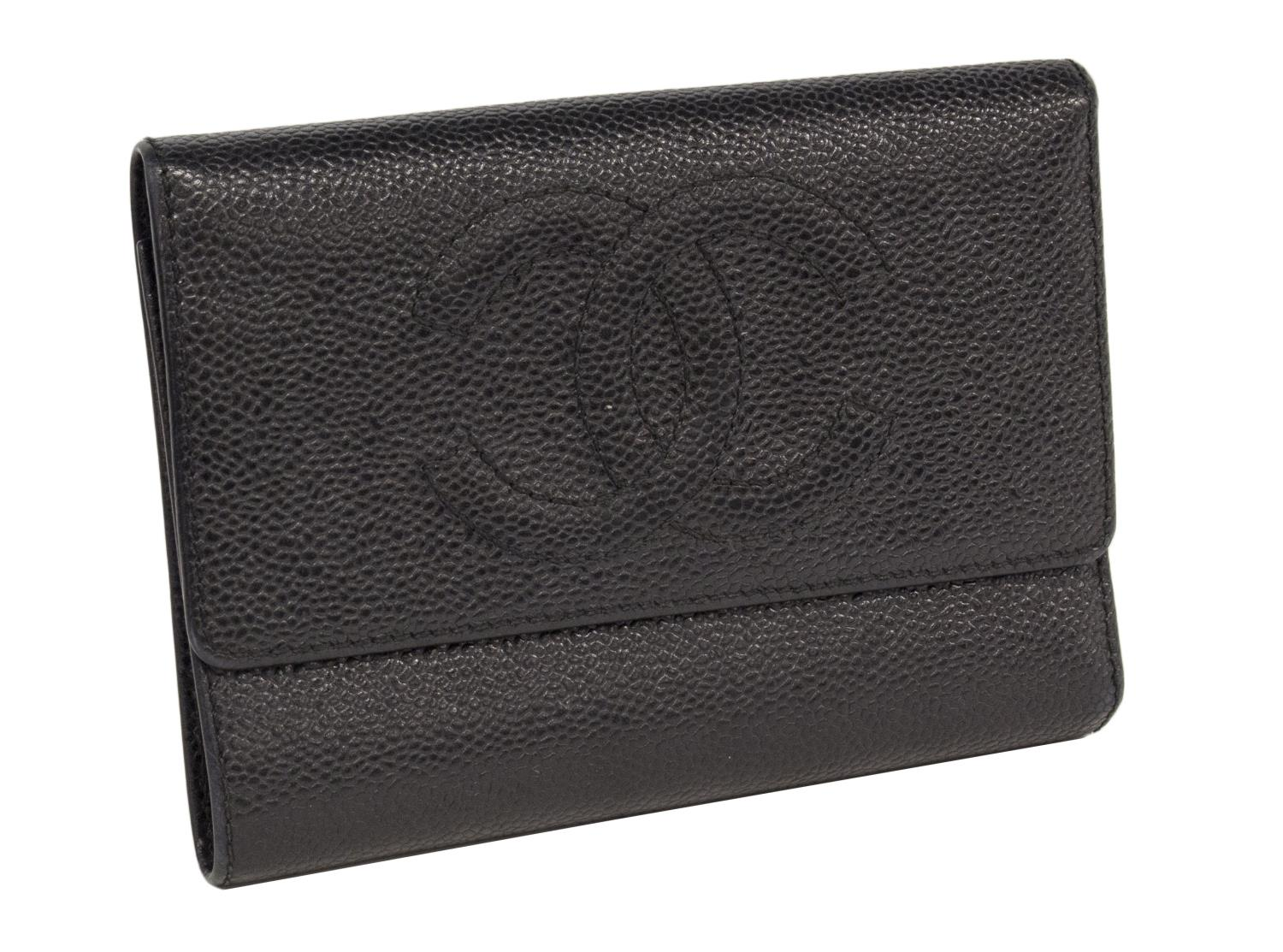 696df5e7f0c99a CHANEL BLACK CAVIAR LEATHER TRI-FOLD WALLET - August Estates Auction - Day  One -