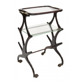 ITALIAN DESIGN ROSEWOOD TIERED SERVICE CART, 1950S