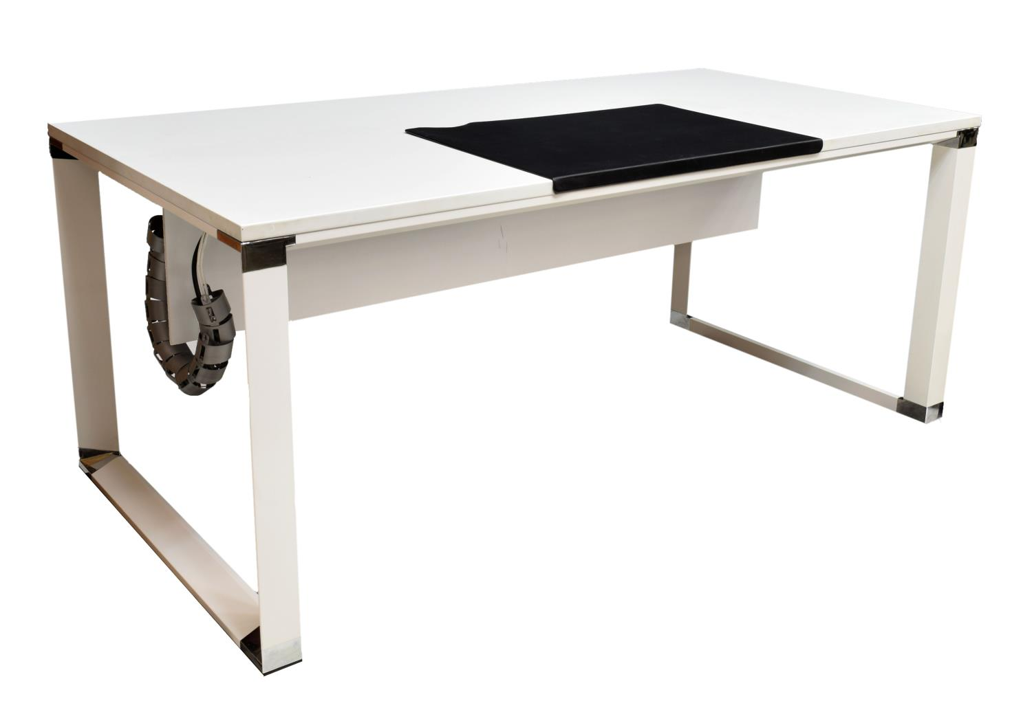 Jesper office white lacquer finish executive desk august estates auction day one austin - Jesper office desk ...