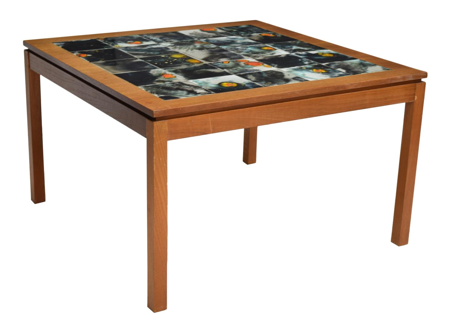 Danish mid century modern teak tile coffee table august estates auction day one austin Modern teak coffee table