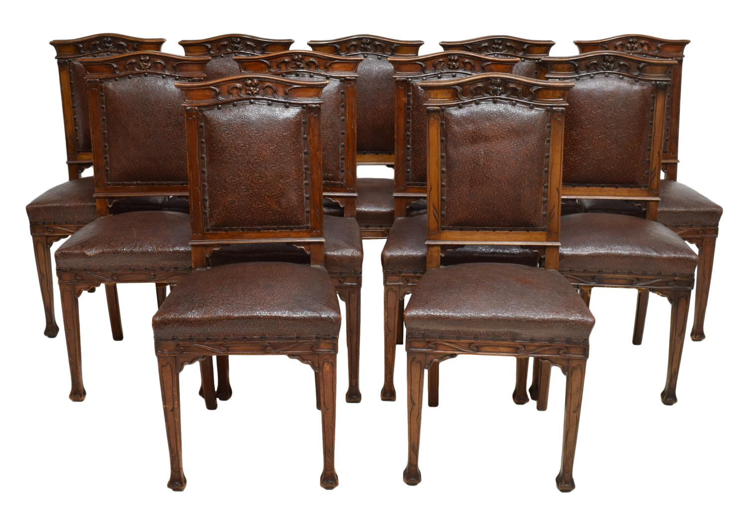 11 FRENCH ART NOUVEAU LEATHER DINING CHAIRS August  : 1015 from www.austinauction.com size 1500 x 1038 jpeg 173kB