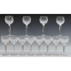 (12) WATERFORD LISMORE CUT CRYSTAL WINE GOBLETS