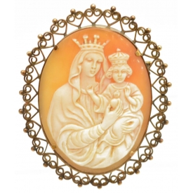 ANTIQUE MADONNA & CHILD CAMEO SHELL BROOCH