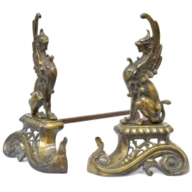 (2) ANTIQUE CONTINENTAL WINGED GRIFFIN CHENETS
