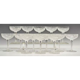 (14) BACCARAT CUT CRYSTAL 'LAGNEY' CHAMPAGNE STEMS