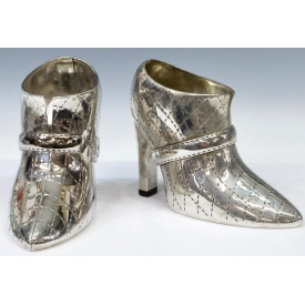 (2) GODINGER SILVERPLATE SHOE FORM WINE COOLERS