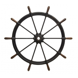 MONUMENTAL AMERICAN CAST IRON & WOOD SHIPS WHEEL