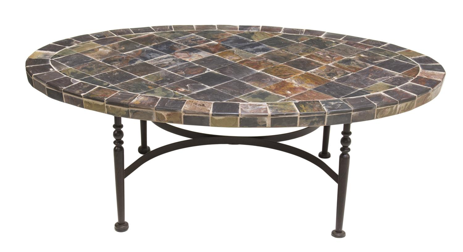 Oval variegated stone tile top iron coffee table day for Stone and iron coffee table