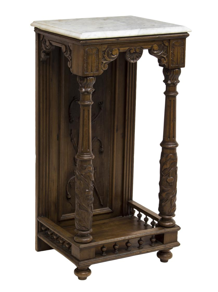 Continental marble top relief carved side table day