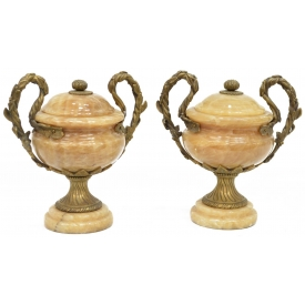 (PAIR) VARIEGATED YELLOW ONYX & BRASS GARNITURES
