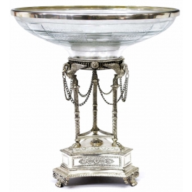 EMPIRE STYLE SILVERPLATE & GLASS CENTERPIECE