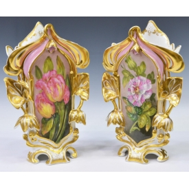 (2) LARGE 19TH C. OLD PARIS PORCELAIN FLARE VASES