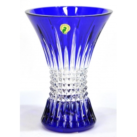 WATERFORD LISMORE COBALT BLUE DIAMOND FLARE VASE