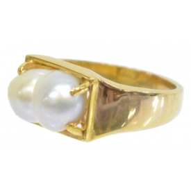 ESTATE 10KT GOLD & PEARL RING