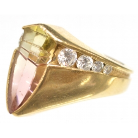 LADIES ESTATE 14KT GOLD TOURMALINE & DIAMOND RING