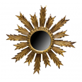 SPAIN CARVED GILTWOOD SUNBURST WALL MIRROR