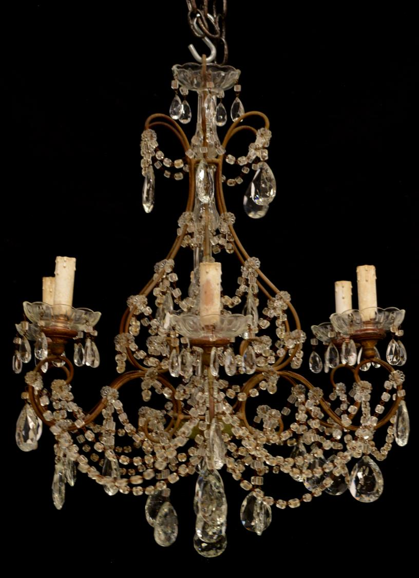 Italian Patinated Metal Amp Crystal Prism Chandelier Day