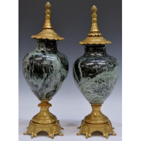 (PAIR) ITALIAN GILT BRASS & VARIEGATED MARBLE URNS
