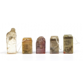 (5) GROUP CHINESE HARD STONE & ROCK CRYSTAL SEALS