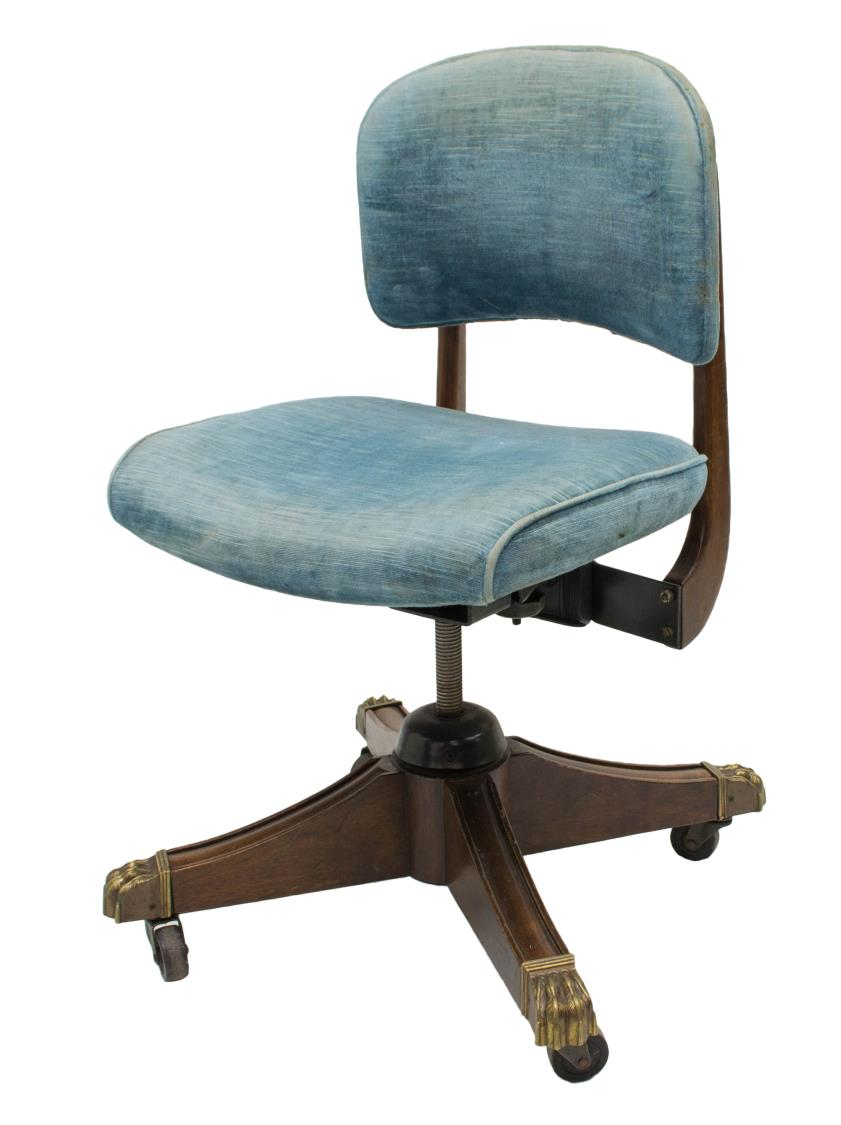 Gunlocke co swivel office chair brass paw feet exciting auction event day one austin - Swivel feet for chairs ...