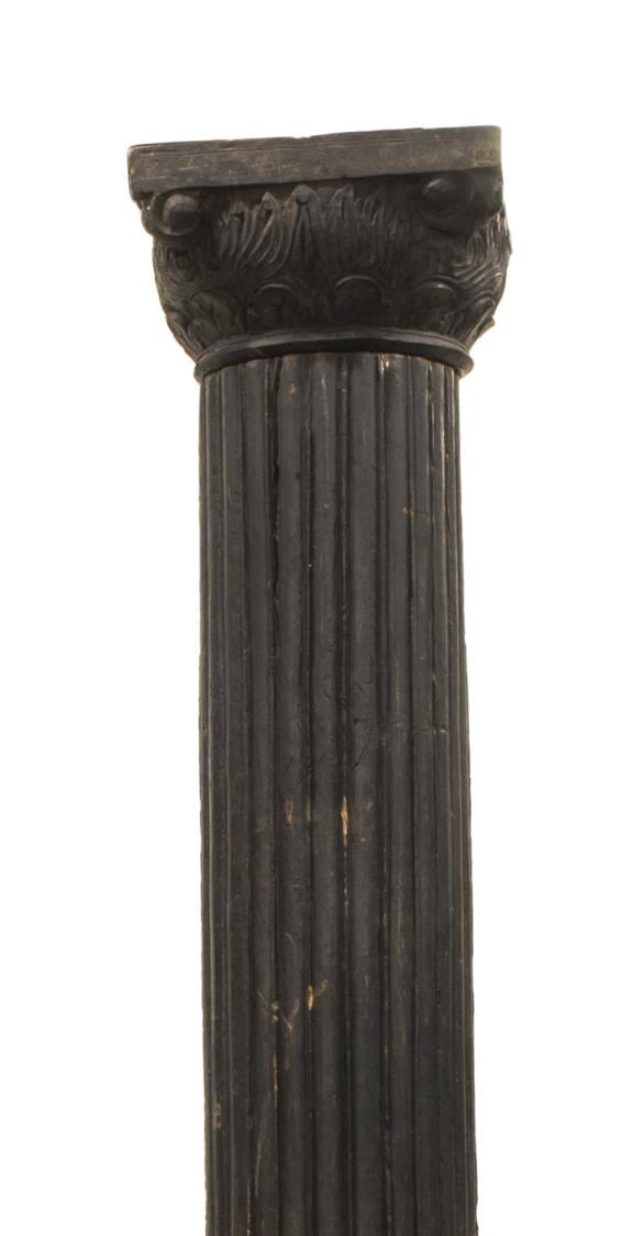 Architectural black fluted carved wooden column exciting
