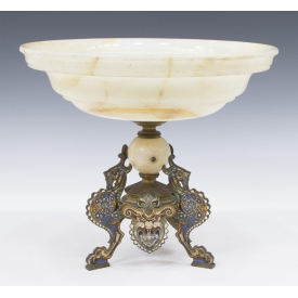 ANTIQUE CHAMPLEVE & ALABASTER CENTER BOWL