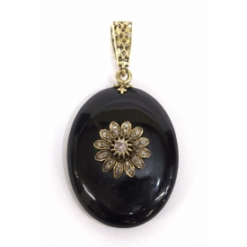 VICTORIAN 14KT GOLD ONYX & DIAMOND MOURNING LOCKET