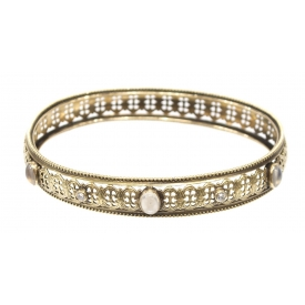 VICTORIAN 14K GOLD MOONSTONE & DIAMOND BANGLE