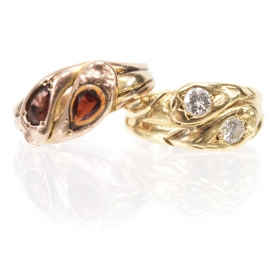 (2) ENGLISH GOLD SERPENT RINGS, GARNETS & DIAMONDS