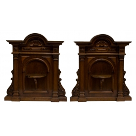 (2) VICTORIAN CARVED WALNUT WALL BRACKETS 19TH C