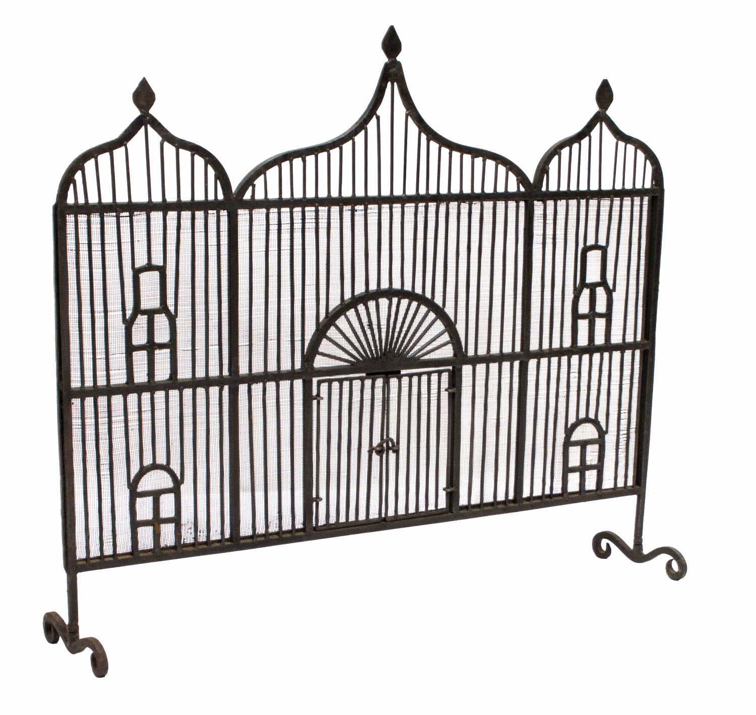 Forged Iron Fireplace Screen : Hand forged wrought iron ogee fire screen holiday